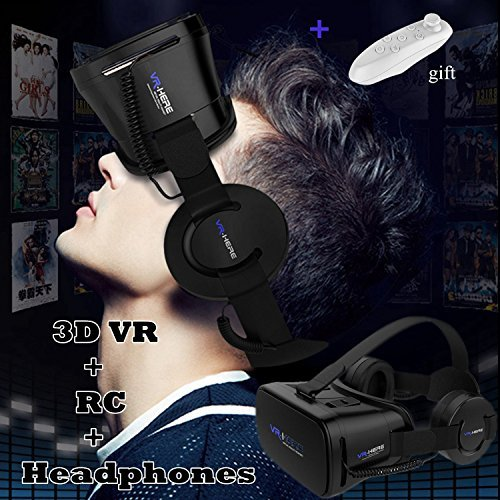 """VR Goggles Virtual Reality Headset with Remote & Headphones for iPhone X 8 6 Plus SE, Samsung Galaxy S8 S7 S6 Edge Note5, 3D VR Glasses for 3D Movie & Game for 4.0-6.0"""" IOS & Android Smartphone, Black"""