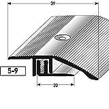 Alu Höhenausgleichsprofil, 90cm, silber ✓ 5-9mm ✓ Inkl. Schrauben ✓ Übergangsprofil für Laminat, Parkett & Teppich | Übergangsleiste, Bodenprofil für Fußböden | Übergangsschiene, Anpassungsprofil, Metallprofil, Türschiene mit stufenlosem Ausgleich