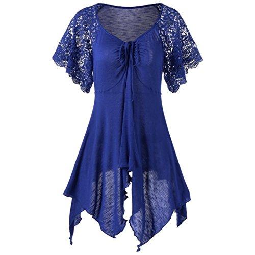 Kobay Damen Bandage Hohe Taille Kurzarm Spitze-Blumen-Patchwork Unregelmäßige Hem Minikleid Bluse Tops(Large,Blau)
