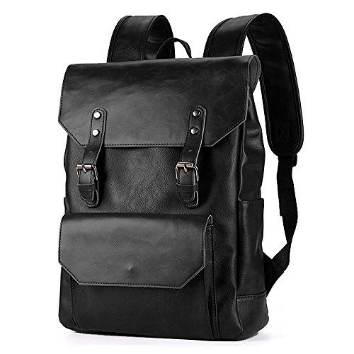 Preisvergleich Produktbild XRKZ Rucksack Der Männer, PU-Multifunktions-beiläufiger Im Freienrucksack 38 * 11 * 27CM Brown,Black-OneSize