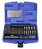 """Projahn 4097 Bit Box 1/4"""" COLOR , Farbcodierter Bit Satz Universal mit Ratschen-Schraubendreher mit Bit-Fach , Schlitz, Kreuzschlitz, TORX, Innen-6Kant Bits 25mm / 75mm; Stecknuss Bits 38mm , 60-tlg."""