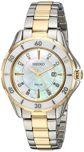Seiko De Las Mujeres De Diamante De Cuarzo Acero Inoxidable Casual Reloj Solar, Color: Dos Tono (Modelo: sut338)