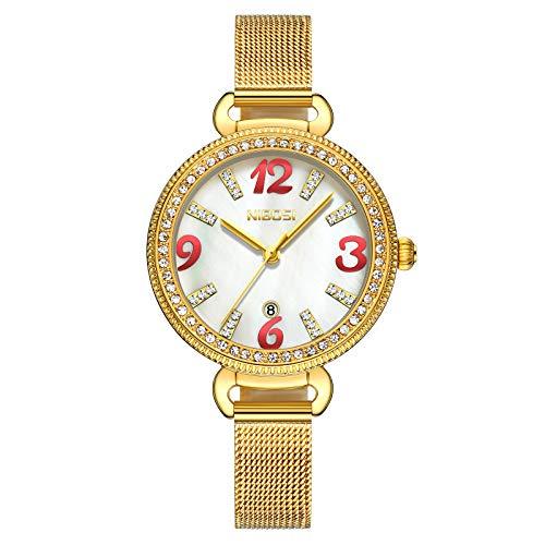 NIBOSI Orologio al quarzo da donna minimalista ultra-sottile orologio casual commerciale di moda casual di lusso. Viene fornito con un cinturino in acciaio inossidabile. Diamante lucido