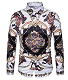 Versaces Männer Hemd Freizeit Mode Europäischer Stil Drucken Lange Ärmel Hemd, Color 1, M