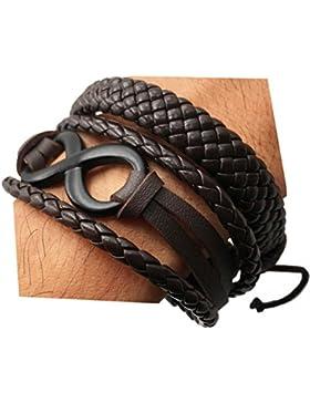 2PCS handgefertigt Woven Leder Armband Damen Herren Legierung 8Buchstabe Handgelenk Seil Kordelzug Manschette...