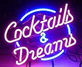 "Cozyle Cocktails & Dreams Segno Neon 17""x14"" Illuminazione al Neon Real Tube per Mancave Beer Bar Pub Garage Room"