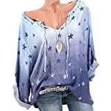 Morbuy Damen Sweatshirt, Casual Pullover Langarm T-Shirt Rundhals Ausschnitt Lose Bluse Oberteil Hemd Oversize Tops Sweatjacke Sport (L, Blau Lila)