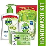 Dettol Aloe Vera Liquid Handwash - 200 Ml With Refill - 175 Ml And Bathing Bar Soap - 100 G (Pack Of 3)