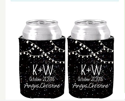 PeteGray Set von 2 schwarzen Nachtlicht-Mustern personalisierte Initialen Dosenkühler isoliert Neopren Koozie Bierhalter Getränke-Isolierung Hochzeit Baby Dusche Brautparty Party Decor