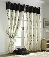 """Brown Cream Floral Rose Trail Lined Voile 56"""" X 90"""" - 142cm X 229cm Ring Top Curtains & Tiebacks by Curtains"""