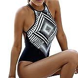 ZARLLE Traje de baño de Mujer Geométrico de Venda Sexy Elástico Impresión Vendaje Una Pieza Bikini Set Ropa de Playa Monokini Sujetador Push-up Acolchado Vestido de natación (Negro, M)