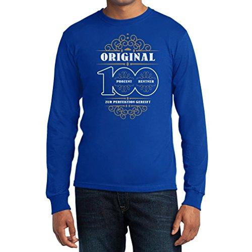 Geschenke für Rentner 100 Prozent Rentner Zur Perfektion Gereift Langarm T-Shirt Blau