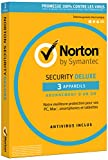 Symantec - Norton Security Deluxe 2018 | 1 An | 3 Appareils | PC/Mac/Android/iOS | Téléchargement