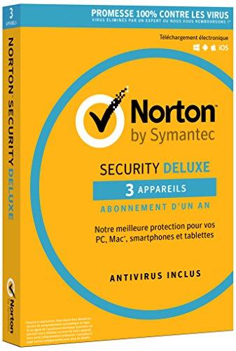 Norton Security Deluxe 2018 - Antivirus 1 an pour PC, Mac, smartphone ou tablette, sous Windows, Mac OS, Android ou iOS - 3 appareils - Envoi postal