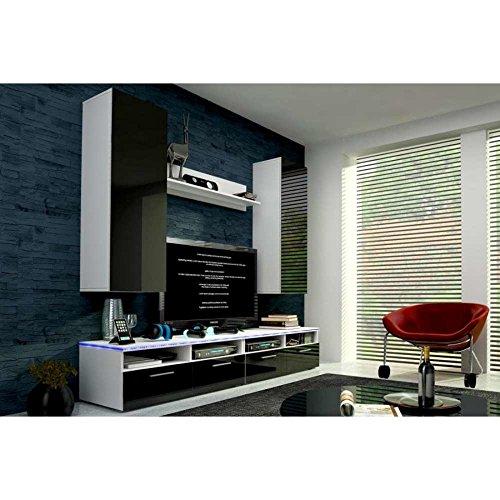 JUSThome Cinema Wohnwand Anbauwand Schrankwand Farbe: Weiß Matt / Schwarz Hochglanz