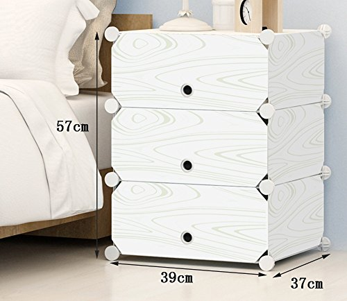 Bedside Tables Meuble de Chambre à Coucher en Plastique en résine avec Portes - Casiers Simples et Modernes, Plastique, 39 * 57 * 37cm