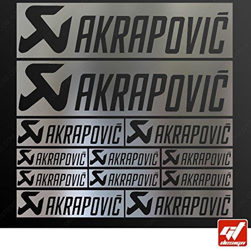 Brett 12Sticker Aufkleber Akrapovic Auspuff Anlage-Chrom-Sticker, selbstklebend, Motorrad, Bike, Kit, Deco, Tuning, Decal, gt-design, GT Design, gtdesign