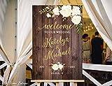 Monsety Welcome Mariage Rustique Welcome Mariage Bienvenue dans Notre Mariage Sign Doré Fleurs Blanches imprimables Sign Peinte à la Main en Bois Signes avec Citations Home Plaque