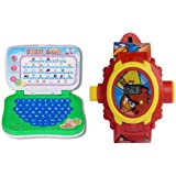 Angry Bird KIDS PROJECTOR WATCH And MINI Educational LEARNING LAPTOP Pack Of 2