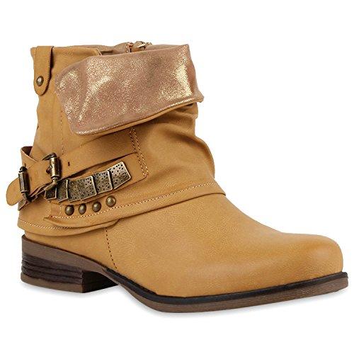 Damen Stiefeletten Zipper Biker Boots Leder-Optik Schnallen Knöchelhohe Stiefel Damen Schuhe 118574 Hellbraun Brito 38 Flandell