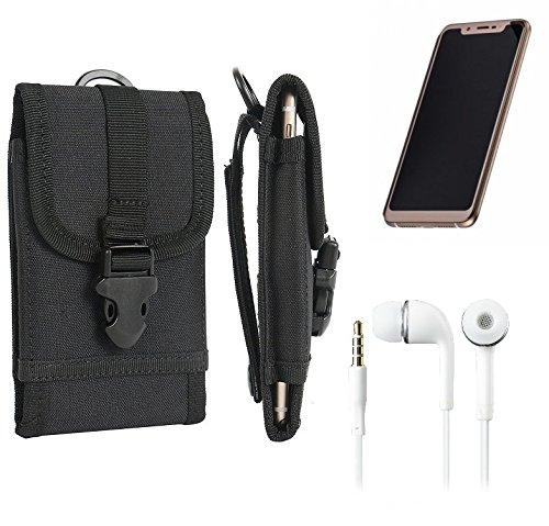 K-S-Trade Für Doogee V Gürteltasche Gürtel Tasche Schutzhülle extrem Robuste Handy Schutz Hülle Smartphone Tasche Outdoor Handyhülle für Doogee V schwarz + Kopfhörer