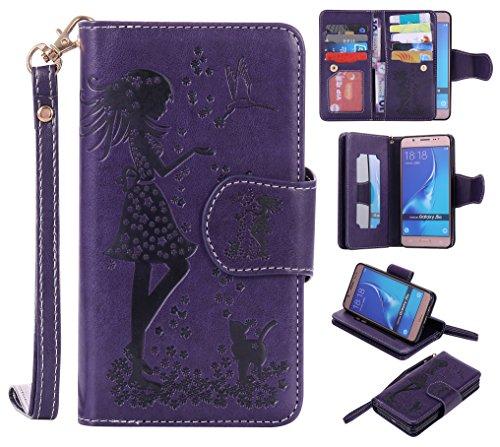 Cozy Hut Samsung Galaxy J5 2016 Schutzhülle, [9 Card Slots] PU Leder Flip Wallet Case Leder Tasche Bumper Stand Funktion Kartenfächer Magnet Closure HandyHülle für Samsung Galaxy J5 2016 - lila