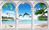 ADDFLOWER Foto personalizzate Carta da parati 3D Murales Balneare europea Spiaggia Isola Albero Delfino Finestra Paesaggio marino Carta da parati sfondo, 430X300 Cm (169,3 By 118,1 In)