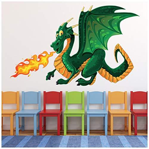 azutura Dragón Verde Vinilos Monstruo Pegatina Decorativos Pared Niños Dormitorio Decoración Disponible en 8 Tamaños Pequeño Digital