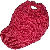 Depruies Gorra de béisbol Casual de Las Mujeres Color sólido Hecha Punto  del Sombrero Caliente 69d19d7d8a9