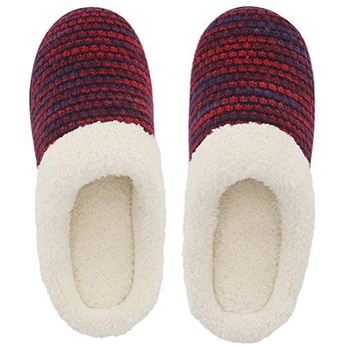 HomeTop, pantofole da donna, aperte dietro, in memory foam, con pelliccia, tomaia in tessuto felpato e lavorata a maglia, ideali per stare in casa o all'aperto Red