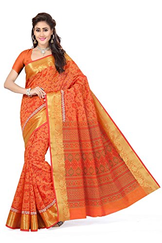 Rani Saahiba Cotton Saree With Blouse Piece (SKR1382_Orange_One Size)