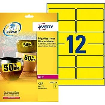 Avery 240 Etiquettes Autocollantes Ultra-Résistantes - 99,1x42,3mm - Impression Laser - Jaune (L6107)