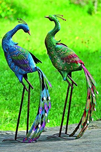 2 figures de jardin oiseaux métalliques paons H78 cm