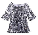 Tops Damen Sommer Elegant T Shirts Mode Pailletten 3/4 Ärmel Party Unikat Style Festival Trendigen Tshirts Rundhals Young Fashion Top (Color : Silber, Size : XL)