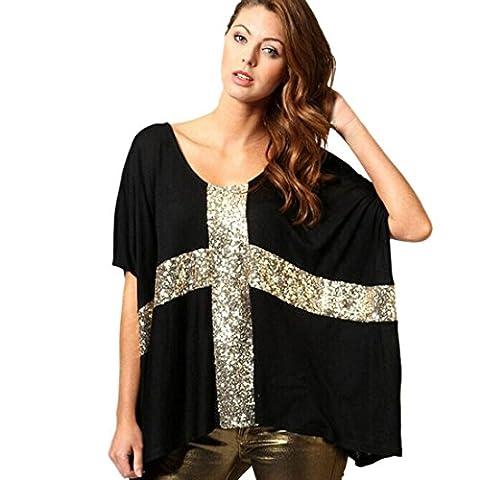 Ukamshop Tops Femmes Chic T-shirt Paillette Croix Court Batwing Manches Blouse (L, noir)