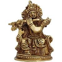Statue in ottone religiosa indù scultura Signore Krishna