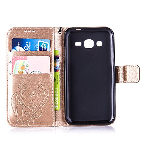Prägen Blumen-Case, Magnetverschluss Synthetische PU-Leder-Kasten-Abdeckung mit hängenden Seil und Wallet-Funktion für Samsung J2 ( Color : Purple , Size : Samsung J2 ) Gold