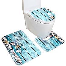 3 Teiliges Badematten Sets, Ya Jin Flanell Stoff Rutschfeste Sea Muster Badezimmer  Teppich