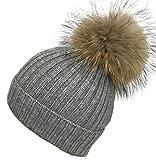 Bommelmütze echtes Fell Beanie Winter Strickmütze mit große Fellbommel (Grau)