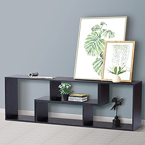 DEVAISE 3-in-1 Versatile TV Stand 2 Pieces Bookcase Bookshelf Storage Shelves (Black)
