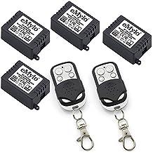 RF, 12 V, transmisor relé 4 x 1 canales de Control remoto inalámbrico inteligente de interruptor, Color blanco y negro