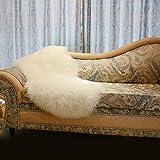 GAOC Schaffell Teppich Nachahmung Wollteppich Einfache Plüsch Sofakissen Polster Yogamatte Autositz 5-6cm Haarlänge,Beige-60cm(23.7'')*110cm(43.3'')