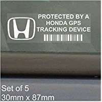 5 adesivi per finestrino 87 x 30 mm HONDA GPS Tracking Device Security -auto furgone