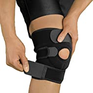 Bracoo Knee Support KS10, Open-Patella Stabiliser & Fully-Adjustable Neoprene Brace – Arthritic Pain Relief, Sports Injury Rehabilitation & Protection against Reinjury – Single Sleeve