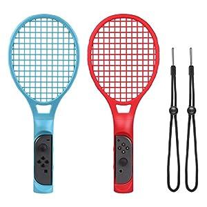 Tennis Rackets für Nintendo Swith Joy-Con Controller, CHOETECH 2 Stück Tennisschläger für Nintendo Switch für Mario Tennis Aces, ARMS and Motion Sensing Spiele (Blau und Rot)