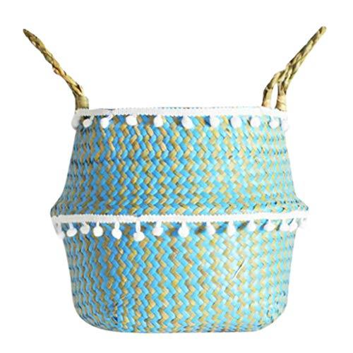 eliaSan Seegras Weidenkorb Blumentopf Klappkorb Natur gewebt Seegras Bauch Korb mit Griff für Home Wall Hochzeitsdekoration - 27 × 24cm -