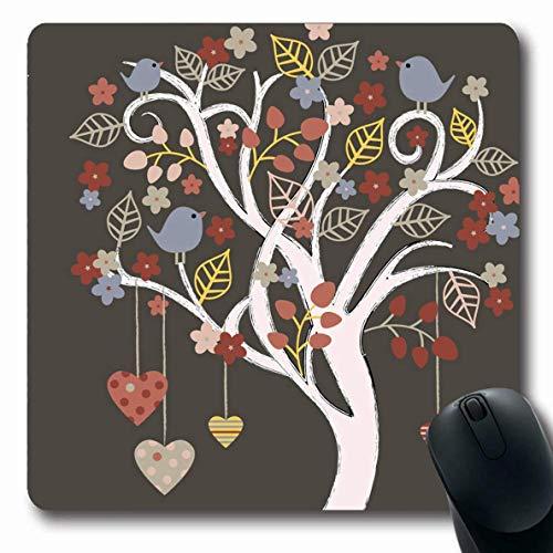 Luancrop Mousepads Kreis Blau Lebensbaum Vögel Natur Rosa Wachsendes Herz Herbst Band Blüte Design Zeichnung rutschfeste Gaming Mouse Pad Gummi Längliche Matte - Herbst-bands