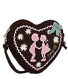 SIX Oktoberfest kleine Damen Handtasche, Schultertasche, Umhängetasche mit braunem Lebkuchen-Herz, rosa Stickerei, Schleife (427-426)