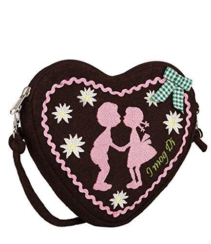 ne Damen Handtasche, Schultertasche, Umhängetasche mit braunem Lebkuchen-Herz, rosa Stickerei, Schleife (427-426) ()