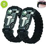 Kiwi Sweet 2 Stücke schwarz Survival Überleben Paracord Armband mit